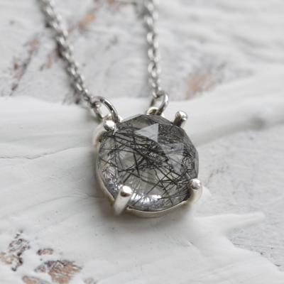 Gold necklace with rose cut rutile quartz MACHA