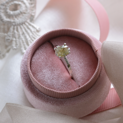 Gold engagement ring with salt and pepper diamond and side diamonds AILBHE