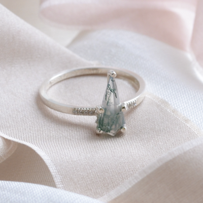 Unique ring with moss agate and diamonds AISLING