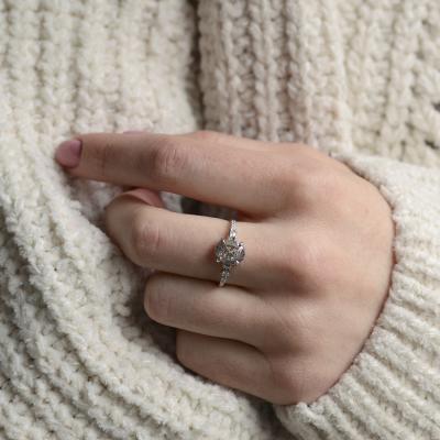 Fine salt and pepper diamond ring with side diamonds BRONAGH