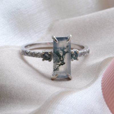 Elegant ring with moss agate and diamonds CARA