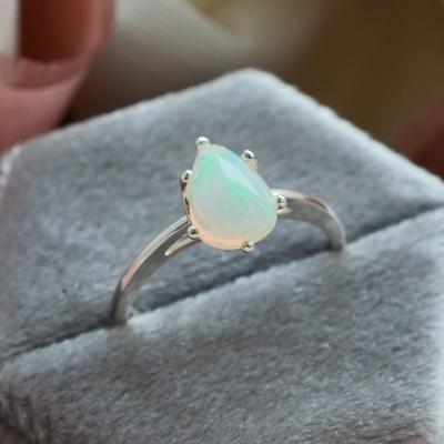 Pear white opal gold ring Eireann