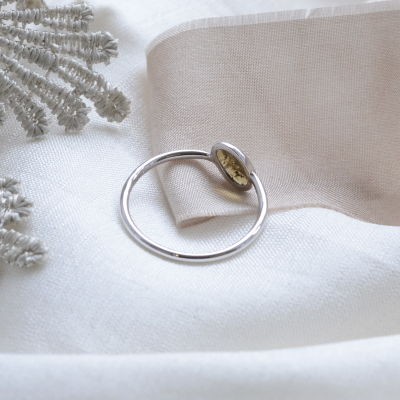 Gold bezel ring with salt and pepper diamond RIONA
