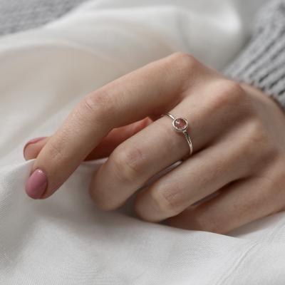 Gold bezel ring with strawberry quartz FRAGOLINA