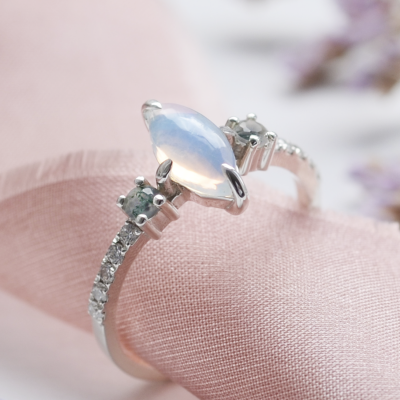 Diamond ring with moonstone and moss agate MAEBH