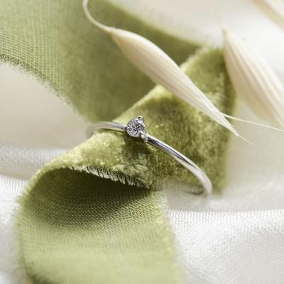 Minimalist engagement ring with diamond NESSA