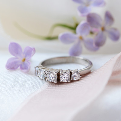 Five stone diamond engagement ring NICOLAS