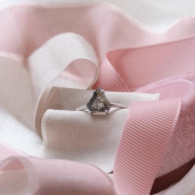 Geometric slice salt´n´pepper diamond ring SORCHA