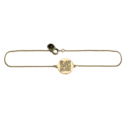 Personalised gold bracelet with QR-code ALEXA