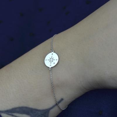 Silver bracelet with a compass and a diamond BOBBIE