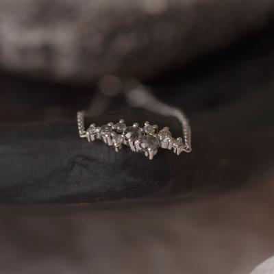 Zlatý náramek osazený salt and pepper diamanty CLARE