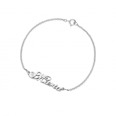 Name silver bracelet with diamond CLARI