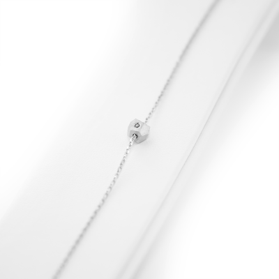 Silver bracelet with a special cube and diamond Gimle