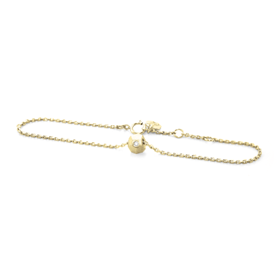 Gold bracelet with a special cube and diamond Gimle