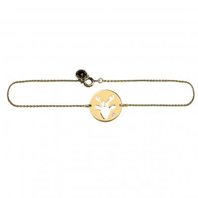 JILL golden  bracelet with a diamond