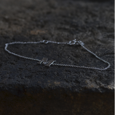 KALIN name silver diamond bracelet