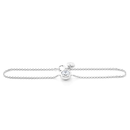 Simple Sterling Silver bracelet with Zircon LOKKA