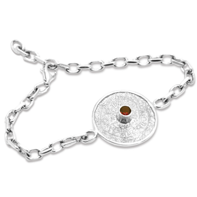 Unique Mayan Calendar Sterling Silver Bracelet with Bohemian granet