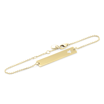 Gold bar bracelet with custom engraving REMA