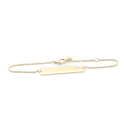 Minimalist gold bracelet with heart and engraving Renma
