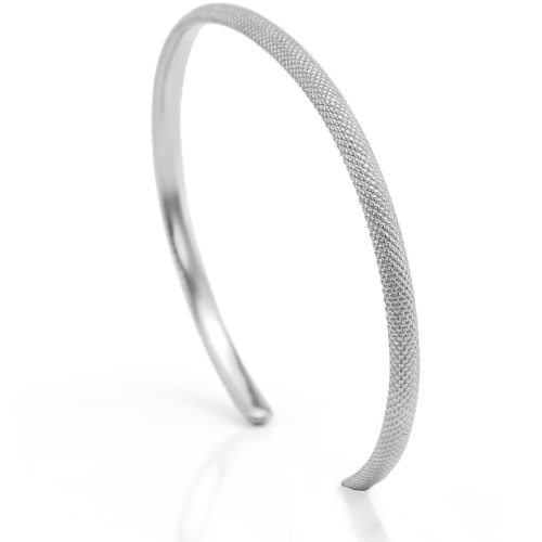 Simple sterling silver, white gold and yellow gold bangle bracelet TROMSO