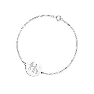 Gold engraved bracelet with a diamond ZERA