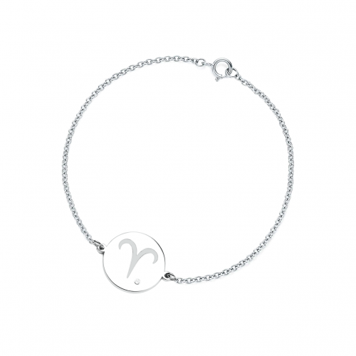 Silver bracelet with a sign of zodiac with diamond ZOD