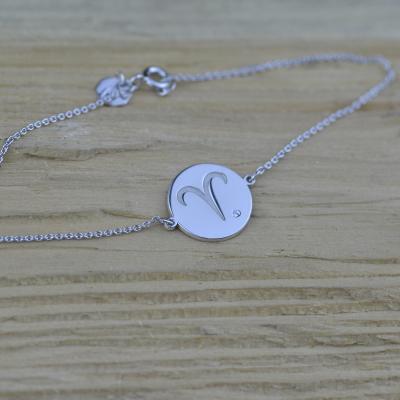 Silver bracelet with a sign of zodiac with diamond ZOD