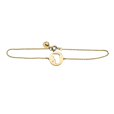 ZOE golden diamond bracelet with baby foot trace