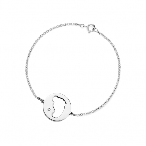 ZOE silver diamond bracelet with baby foot trace