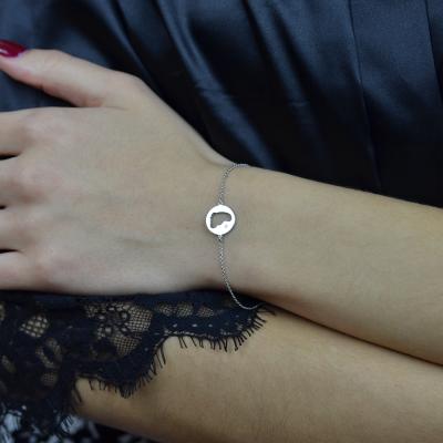 ZOE silver diamond bracelet with baby foot trace