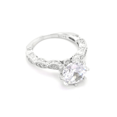 Glorious sterling silver ring with zircon FLII