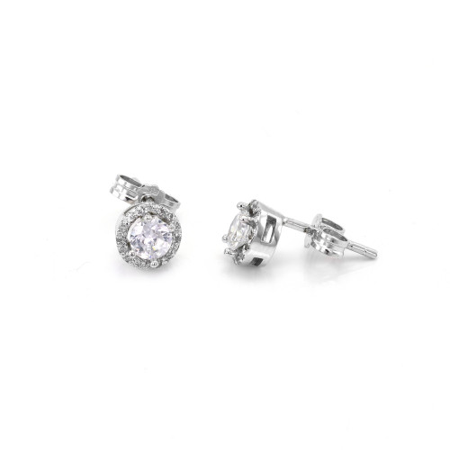Classical gold/silver stud earring with diamonds or zirkons  NINA