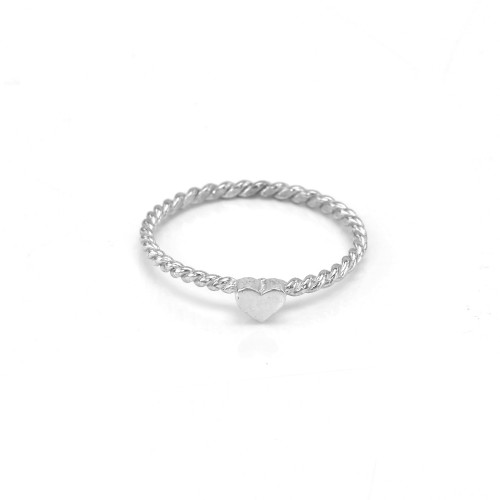 Unique Sterling Silver and White Gold heart ring LUSI