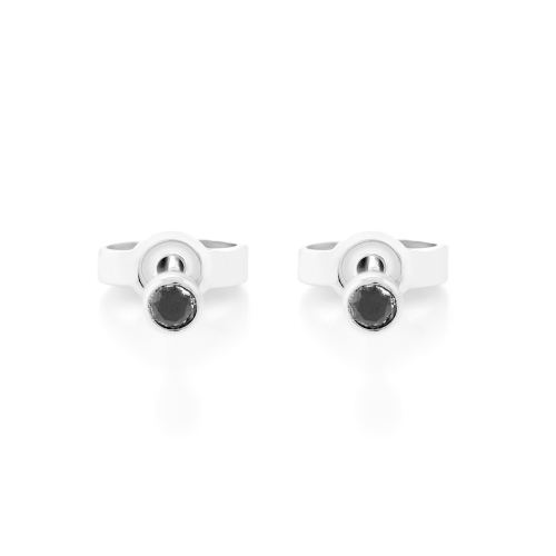 ANY Golden stud earrings with a black diamond