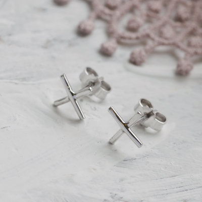 Gold minimalist stud earrings CROSS