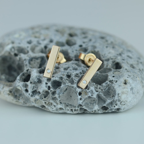 DINA gold diamond stud earrings