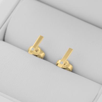 Zlaté minimalistické  náušnice s diamanty DINA