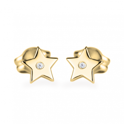 EMILY Gold earrings with a diamond