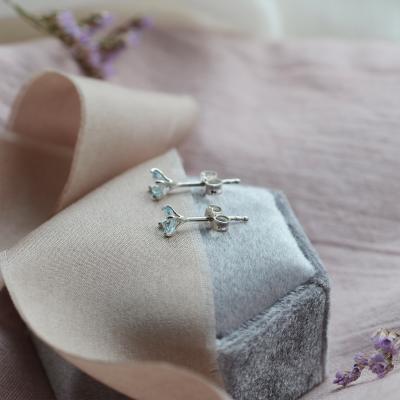 Gold earrings with blue topazes FELI