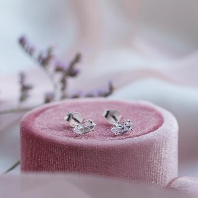 Gold earrings with white topazes FELI