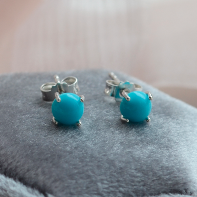 Gold earrings with turquoises FELI
