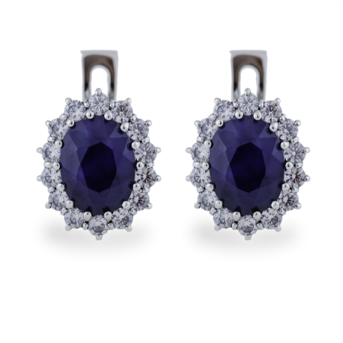 Elegant earrings with JUFINI diamonds and a sapphire