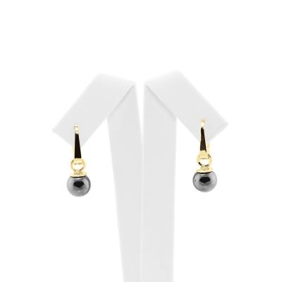 Zlaté nebo stříbrné náušnice s hematitem LAVRIK
