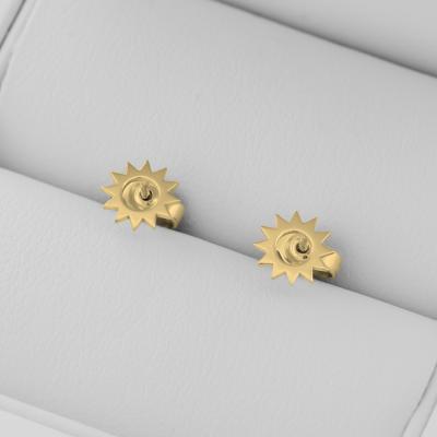 LOLLI unusual gold stud earrings for a striking lady
