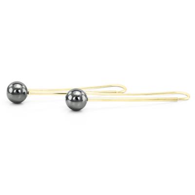 Minimalist drop earrings with hematite NUGATA