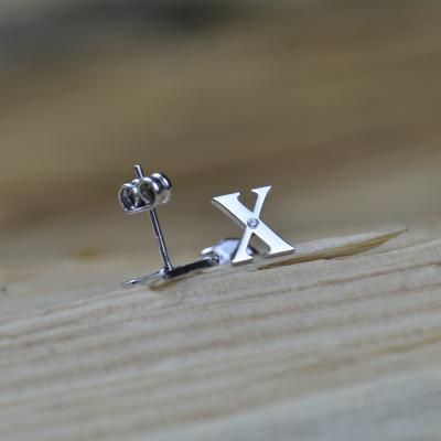 QUNTI name diamond silver earrings