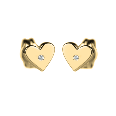 RACHEL Gold earrings with a diamond
