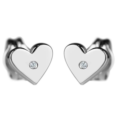 RACHEL Silver earrings with a diamond