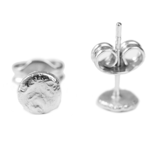 Minimalist stud earrings with rough finish RIMINI